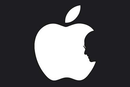 apple logo with steve jobs image in it